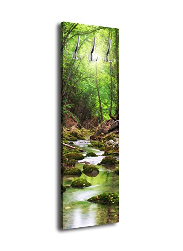 wandmotiv24 Garderobe mit Design River in The Forest G347 40x125cm Wandgarderobe Bach Bäume Grün